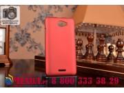 Фирменная задняя панель-крышка-накладка из тончайшего и прочного пластика для HTC Desire 516 красная..