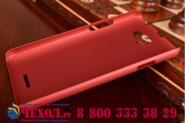 Фирменная задняя панель-крышка-накладка из тончайшего и прочного пластика для HTC Desire 516 красная