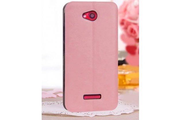 Фирменный чехол-книжка из качественной водоотталкивающей импортной кожи на жёсткой металлической основе для HTC Desire 616 Dual sim нежный розовый