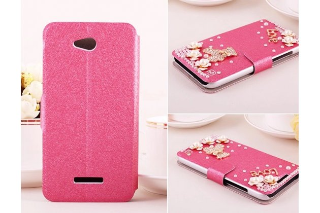 Фирменный роскошный чехол-книжка безумно красивый декорированный бусинками и кристаликами на HTC Desire 616 Dual sim