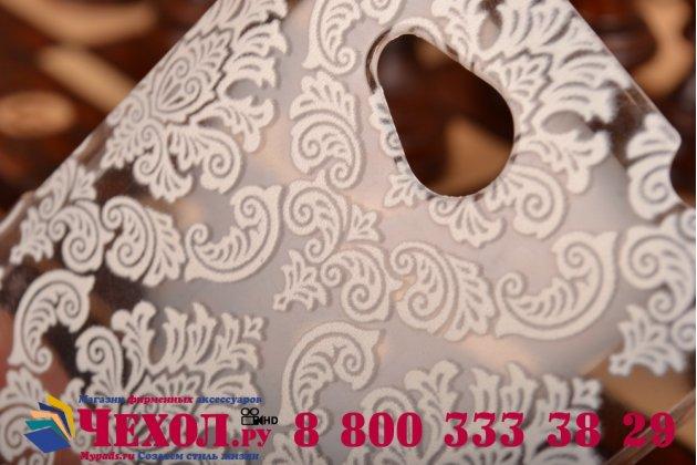 Фирменная роскошная задняя панель-чехол-накладка с расписным узором для HTC Desire 616 Dual sim прозрачная белая