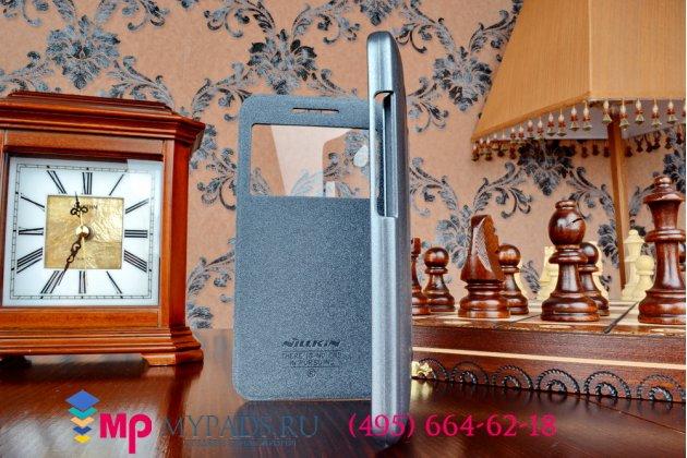 Фирменный оригинальный чехол-книжка для HTC Desire 616 Dual sim черный кожаный с окошком для входящих вызовов