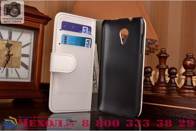 Фирменный чехол-книжка из качественной импортной кожи с подставкой застёжкой и визитницей для HTC Desire 700 Dual Sim белый
