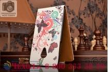 """Фирменный вертикальный откидной чехол-флип для HTC Desire 700 Dual Sim """"тематика цветок Сакуры"""""""