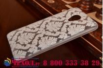 Фирменная роскошная задняя панель-чехол-накладка с расписным узором для HTC Desire 700 Dual Sim прозрачная белая