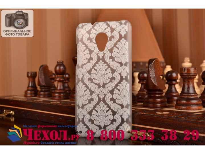 Фирменная роскошная задняя панель-чехол-накладка с расписным узором для HTC Desire 700 Dual Sim прозрачная бел..