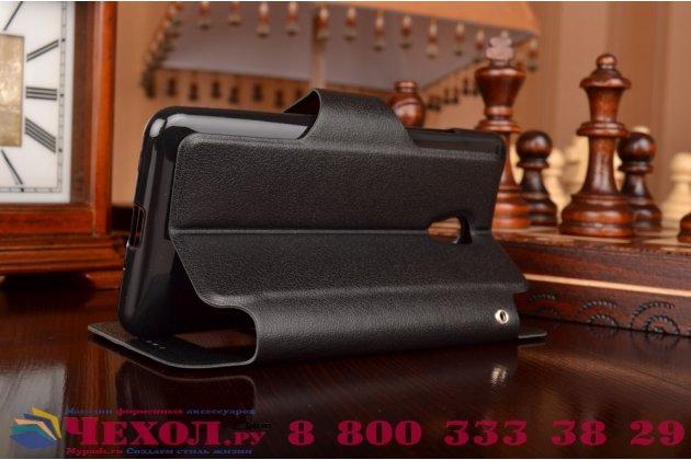 """Фирменный оригинальный чехол-книжка для HTC Desire 700 Dual Sim 5.0"""" черный кожаный с окошком для входящих вызовов"""