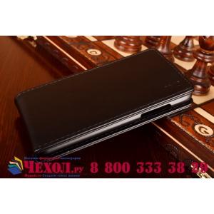 Фирменный оригинальный вертикальный откидной чехол-флип для HTC Desire 700 Dual Sim черный кожаный