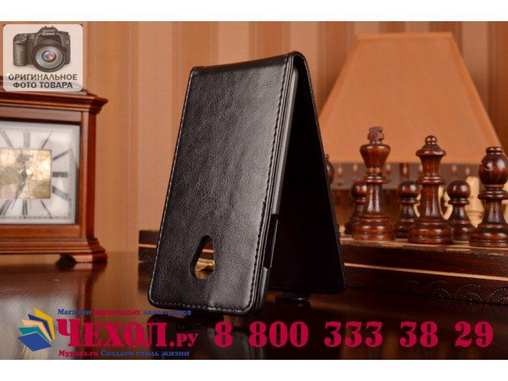 Фирменный оригинальный вертикальный откидной чехол-флип для HTC Desire 700 Dual Sim черный кожаный..