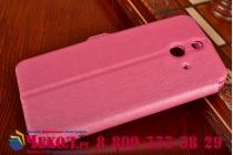 Фирменный оригинальный чехол-книжка для HTC One E8 с окошком для входящих вызовов и свайпом водоотталкивающий красный