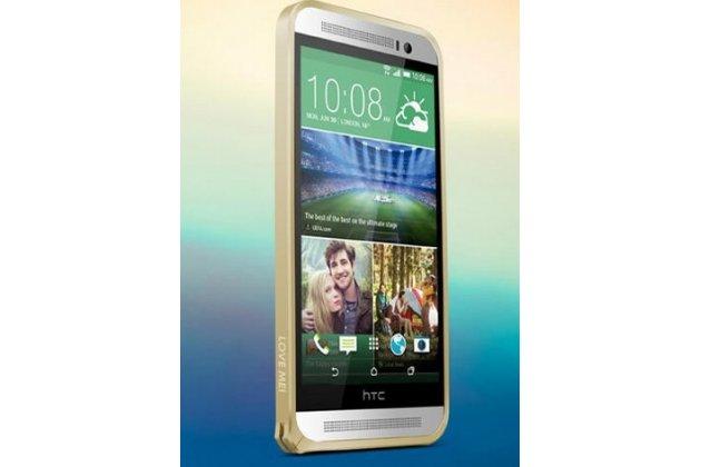 Фирменный оригинальный ультра-тонкий чехол-бампер для HTC One E8 золотой металлический