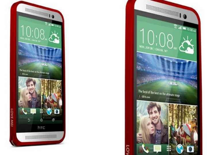 Фирменный оригинальный ультра-тонкий чехол-бампер для HTC One E8 красный металлический..