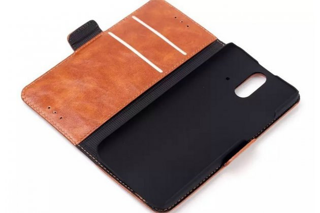 Фирменный чехол-книжка из качественной импортной кожи с подставкой застёжкой и визитницей для ХТС Уан Е8 черный