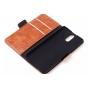Фирменный чехол-книжка из качественной импортной кожи с подставкой застёжкой и визитницей для ХТС Уан Е8 черны..