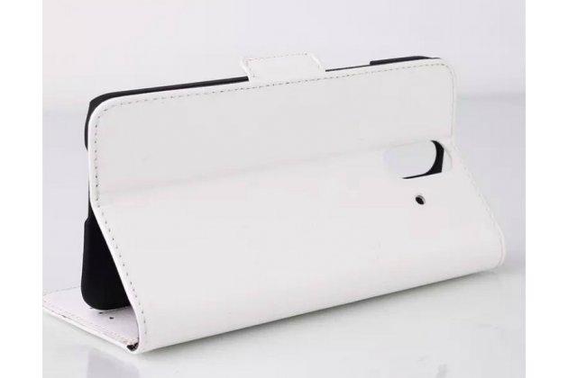 Фирменный чехол-книжка из качественной импортной кожи с подставкой застёжкой и визитницей для HTC One E8 белый