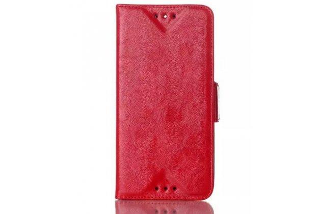 Фирменный чехол-книжка из качественной импортной кожи с подставкой застёжкой и визитницей для HTC One E8 красный