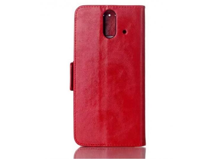 Фирменный чехол-книжка из качественной импортной кожи с подставкой застёжкой и визитницей для HTC One E8 красн..