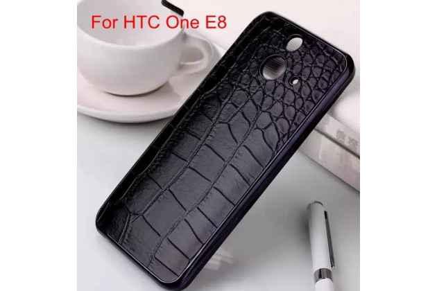 Ультра-тонкая пластиковая задняя панель-крышка для HTC One E8 лаковая кожа крокодила брутальный чёрный