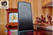 Фирменный оригинальный вертикальный откидной чехол-флип для HTC One E8 черный кожаный