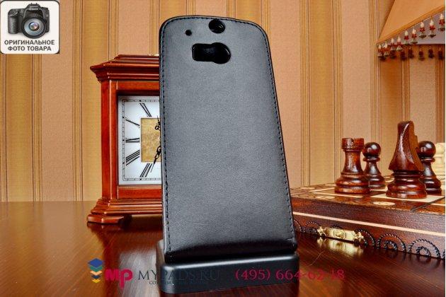 Фирменный вертикальный откидной чехол-флип для HTC One M8/M8s/(M8) EYE черный кожаный