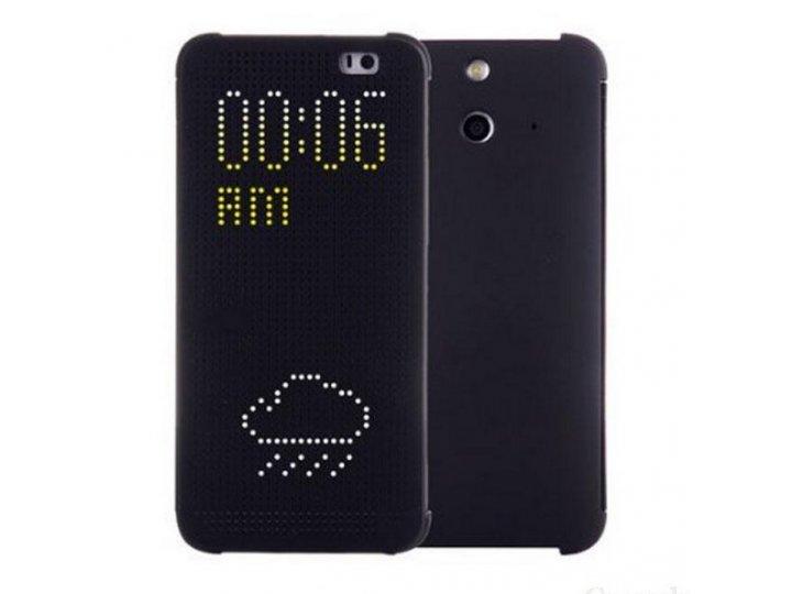 Фирменный оригинальный умный чехол Dot View flip case для HTC One E8 черный..