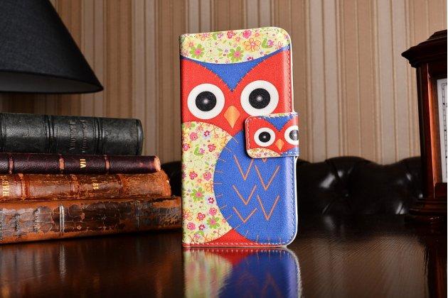 """Фирменный уникальный необычный чехол-книжка для HTC One mini 2 """"тематика Сова"""""""