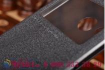 Фирменный чехол-книжка для HTC One mini 2 черный кожаный с окошком для входящих вызовов