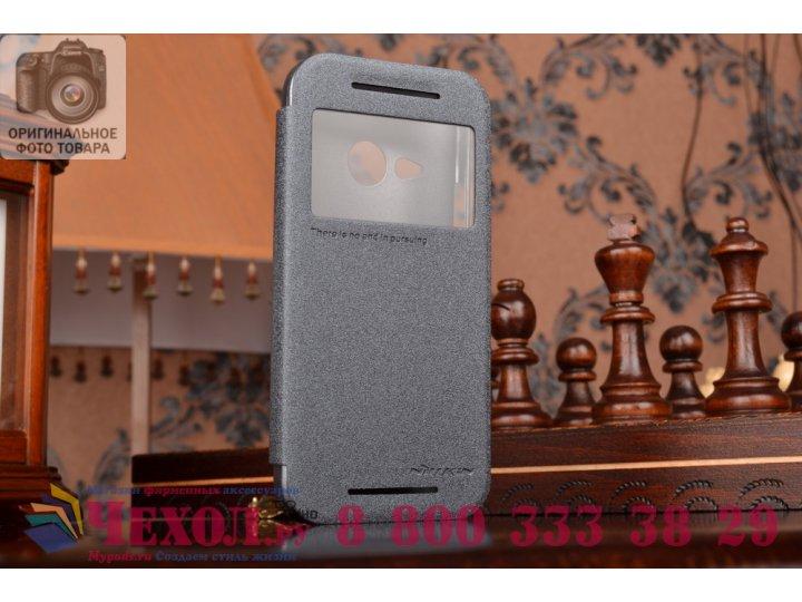 Фирменный чехол-книжка для HTC One mini 2 черный кожаный с окошком для входящих вызовов..