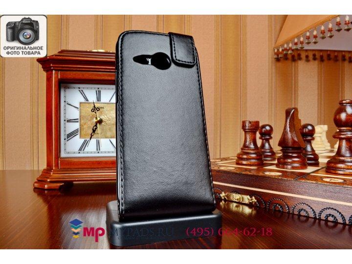 Фирменный вертикальный откидной чехол-флип для HTC One mini 2 черный кожаный..