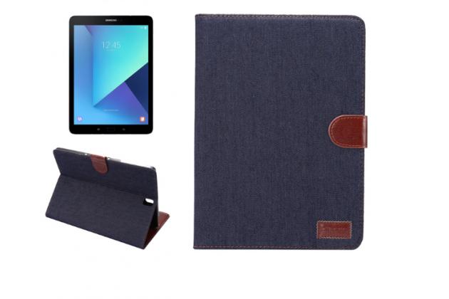 Фирменный необычный чехол-книжка-подставка с визитницей для Samsung Galaxy Tab S3 9.7 SM-T820/T825 джинсовый с кожей