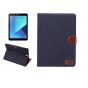 Фирменный необычный чехол-книжка-подставка с визитницей для Samsung Galaxy Tab S3 9.7 SM-T820/T825 джинсовый с..
