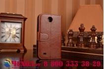 Фирменный чехол-книжка из качественной импортной кожи с подставкой застёжкой и визитницей для HTC Desire 300 коричневый