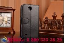 Фирменный чехол-книжка из качественной импортной кожи с подставкой застёжкой и визитницей для HTC Desire 300 черный