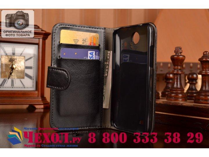 Фирменный чехол-книжка из качественной импортной кожи с подставкой застёжкой и визитницей для HTC Desire 300 ч..