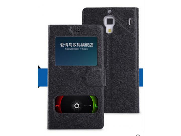 Фирменный оригинальный чехол-книжка для HTC Desire 300 черный кожаный с окошком и свайпом  для входящих вызово..
