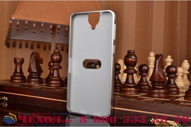 Фирменная металлическая задняя панель-крышка-накладка из тончайшего облегченного авиационного алюминия для HTC One E9 Plus серебристая