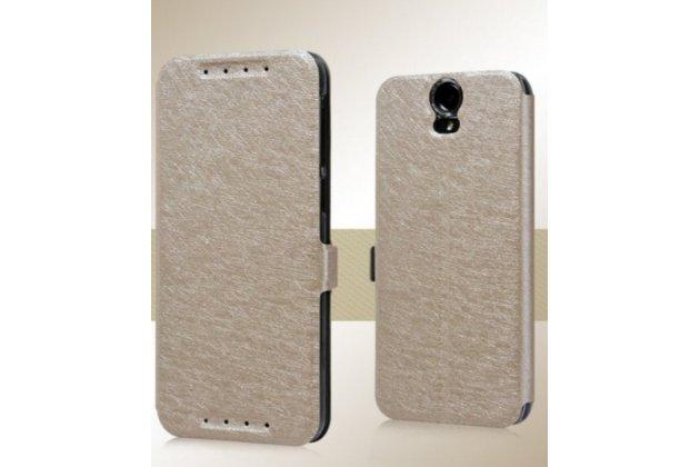 Фирменный чехол-книжка для HTC One E9 Plus золотой водоотталкивающий