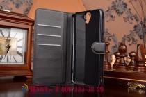 Фирменный чехол-книжка из качественной импортной кожи с мульти-подставкой застёжкой и визитницей для ХТС Ван Е9 Плюс черный