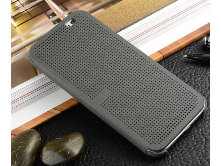 Фирменный оригинальный официальный умный чехол Dot View flip case для HTC One E9 Plus/E9+ plus dual sim черный..