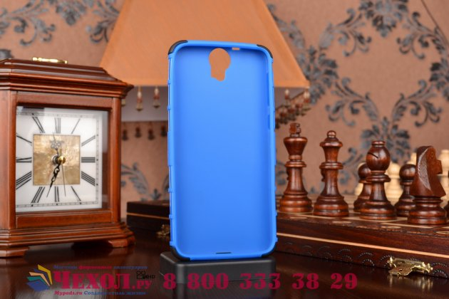 Противоударный усиленный ударопрочный фирменный чехол-бампер-пенал для HTC One E9 Plus синий