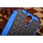 Противоударный усиленный ударопрочный фирменный чехол-бампер-пенал для HTC One E9 Plus синий..