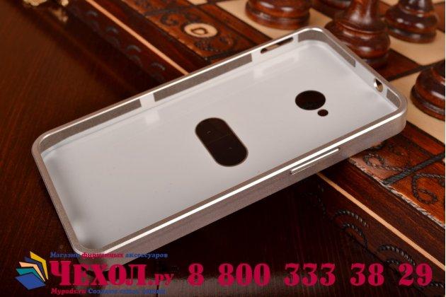 Фирменная ультра-тонкая алюминеевая металлическая задняя панель-крышка-накладка для HTC One M7 серебристая
