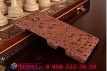 Ультра-тонкая пластиковая задняя панель-крышка для HTC One M8/ M8 Dual Sim/M8s/(M8) EYE лаковая кожа крокодила коричневая