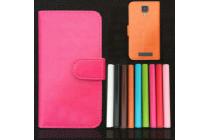 """Фирменный чехол-книжка для  Highscreen Boost 3 SE 5.0"""" с визитницей и мультиподставкой коричневый кожаный"""