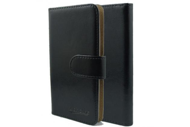 """Фирменный чехол-книжка из качественной импортной кожи с подставкой застёжкой и визитницей для Highscreen Easy F"""" черный"""