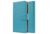 """Фирменный чехол-книжка из качественной импортной кожи с подставкой застёжкой и визитницей для Highscreen Easy F"""" голубой"""