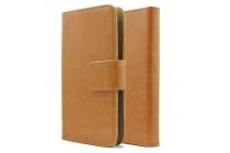 """Фирменный чехол-книжка из качественной импортной кожи с подставкой застёжкой и визитницей для Highscreen Easy F"""" коричневый"""
