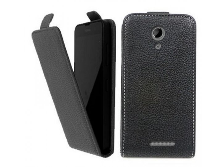 Фирменный оригинальный вертикальный откидной чехол-флип для  Highscreen Omega Prime Mini SE черный из натураль..