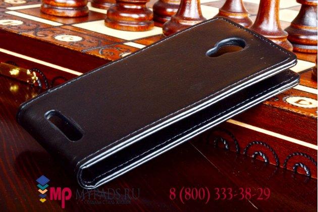"""Фирменный оригинальный вертикальный откидной чехол-флип для Highscreen Omega Prime Mini черный кожаный """"Prestige"""" Италия"""