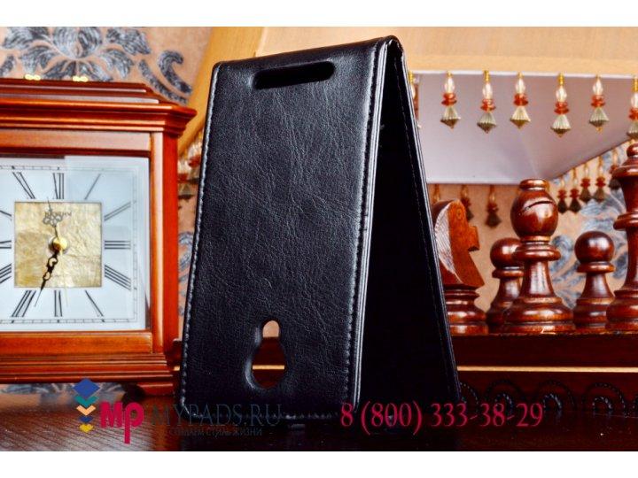 Фирменный оригинальный вертикальный откидной чехол-флип для Highscreen Omega Prime Mini черный кожаный